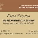 Recrutement Ostéopathe: annonce médicale gratuite de Remplacement (libéral) -  France, Mme FRISCIRA
